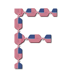 Letter F made of USA flags in form of candies vector
