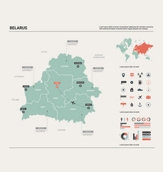 Map belarus high detailed country vector