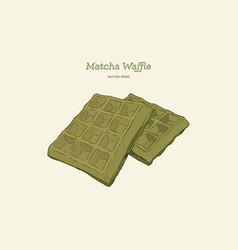 matcha waffles hand draw sketch vector image