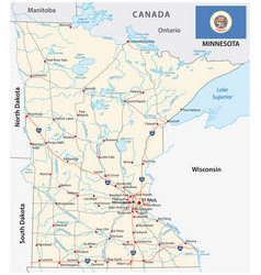 minnesota federal state road map with flag vector image