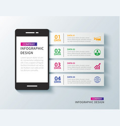 mobile phone infographic with 4 data template vector image