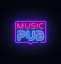 Music pub neon sign live music design vector