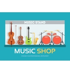 Music shop in flat design background concept vector