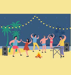 night party at tropical beach people dancing vector image
