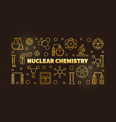 nuclear chemistry golden line banner or vector image