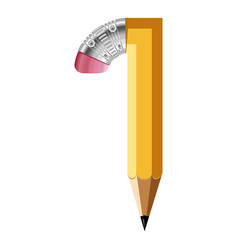 Number one pencil icon cartoon style vector