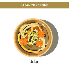 nutritious udon in deep bowl from japanese cuisine vector image