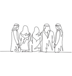 One continuous line drawing group young muslim vector