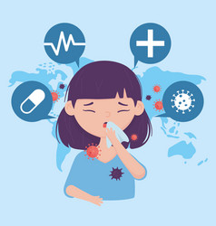Online health girl with cough with paper vector