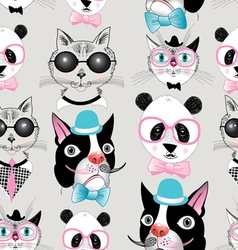 pattern retro hipster animal portraits vector image