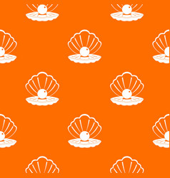 Pearl in a sea shell pattern seamless vector