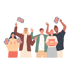 People holding english flags studying english vector
