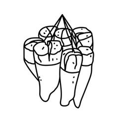 Peuyeum singkong icon doodle hand drawn vector