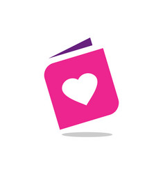 pink book and heart shape love symbol logo design vector image