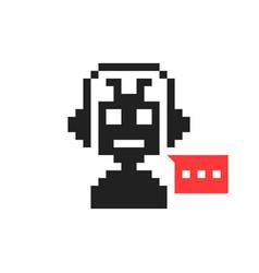 Pixelart chatbot like hotline service vector