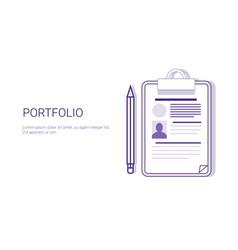Portfolio business resume concept web banner vector