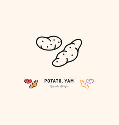 potato yam icon vegetables logo thin line art vector image