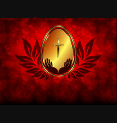 red background with golden easter egg vector image
