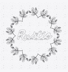 rustic floral round frame hand drawn vector image