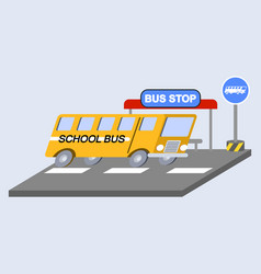 School bus flat skew icon vector