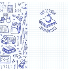 School tools sketch icons vertical banner vector image