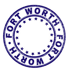 Scratched textured fort worth round stamp seal vector