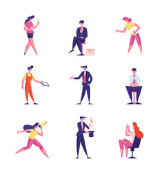 set male and female business people using vector image