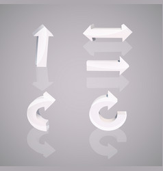 set of white arrows vector image