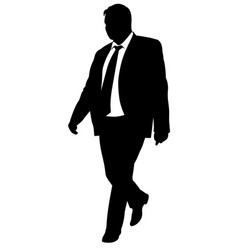 silhouette of a walking man in a business suit vector image