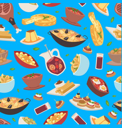 spanish food seamless pattern traditional vector image