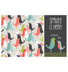 spring mid-century modern birds seamless pattern vector image