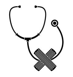 stethoscope cross bandage icon simple style vector image