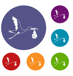 stork carrying icons set vector image vector image