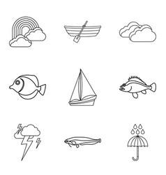 Swim icons set outline style vector