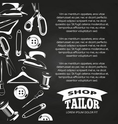Tailor shop chalkboard poster vector