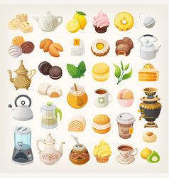 tea cups kettles and dessert vector image