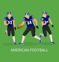 team run on stadium playing in american football vector image
