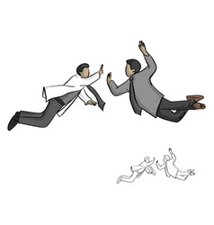 two businessman jump to high five in the air vector image