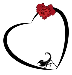 valentine frame with rose and scorpion vector image