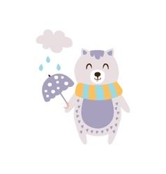 Violet Cat In Scarf Holding Umbrella Under Rain In vector