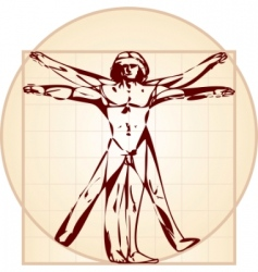 Vitruvian man stylized version vector