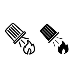 Water bucket extinguishing a fire line icon fire vector