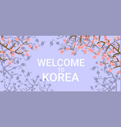 Welcome to korea travelling poster with pink vector