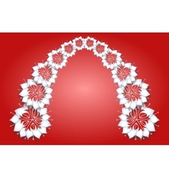 White flowers on red background vector image