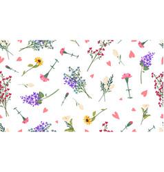 wild flowers pattern spring summer print love vector image