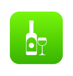 Wine and glass icon digital green vector