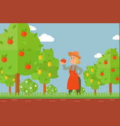 woman in orchard cartoon character holding apple vector image
