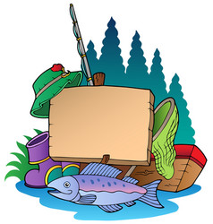 Wooden board with fishing equipment vector