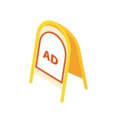 Yellow sandwich board icon isometric 3d style vector