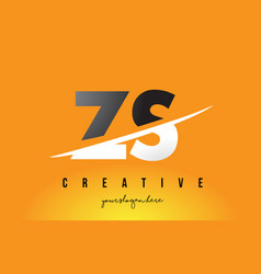 zs z s letter modern logo design with yellow vector image